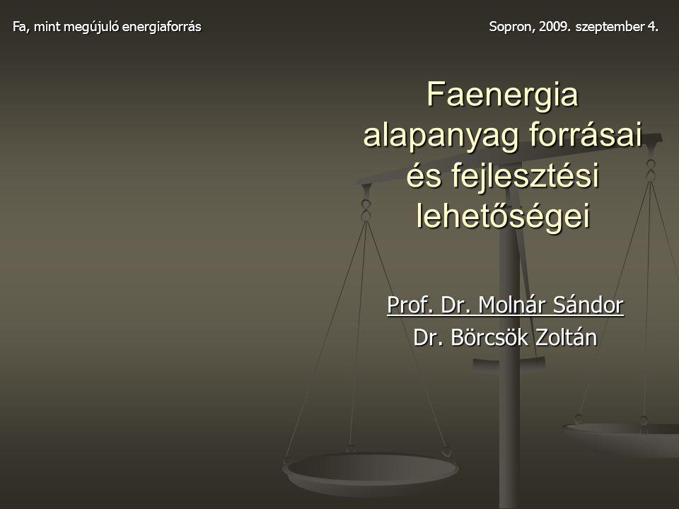 Faenergia alapanyag forrásai és fejlesztési lehetőségei Prof. Dr. Molnár Sándor Dr. Börcsök Zoltán Fa, mint megújuló energiaforrás Sopron, 2009. szept