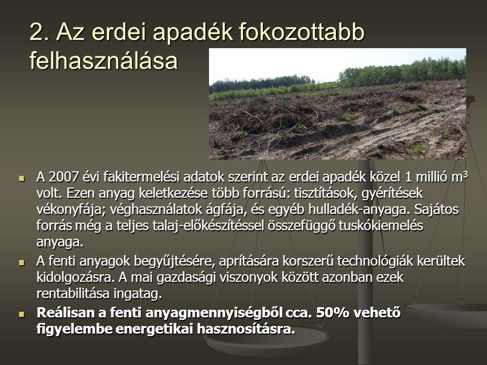 2. Az erdei apadék fokozottabb felhasználása A 2007 évi fakitermelési adatok szerint az erdei apadék közel 1 millió m 3 volt. Ezen anyag keletkezése t