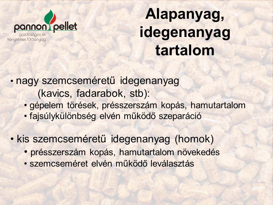 Alapanyag, idegenanyag tartalom nagy szemcseméretű idegenanyag (kavics, fadarabok, stb): gépelem törések, présszerszám kopás, hamutartalom fajsúlykülö