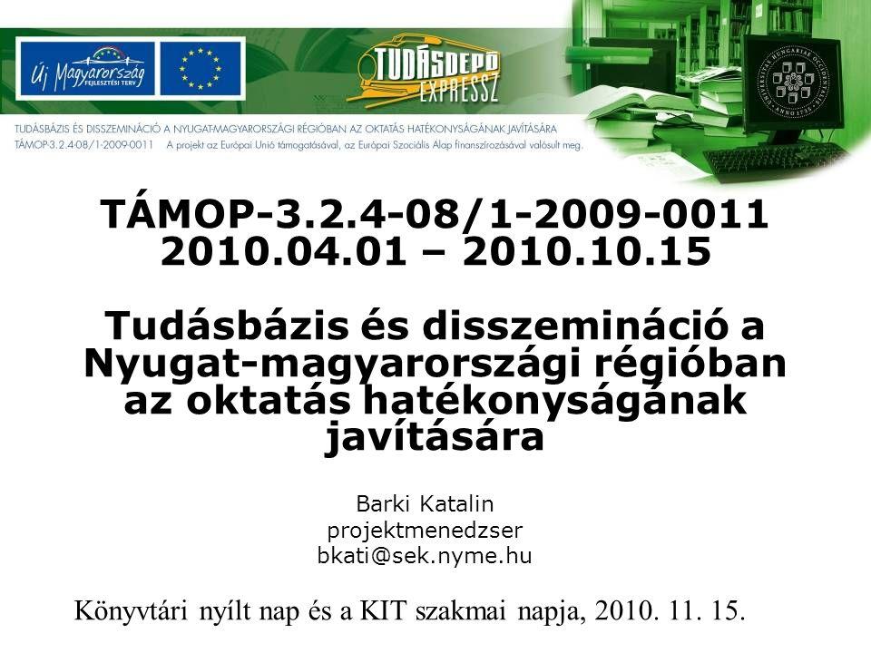 A pályázati cél: A Nyugat-magyarországi Egyetem közgyűjteményi hálózata és a közoktatási együttműködő partnerek könyvtárai hatékonyan támogassák: - a formális oktatáson kívüli önálló ismeretszerzést, - a digitális írástudás fejlesztését, - a módszertani paradigmaváltás megvalósítását, - új tanulási stratégiák kialakítását, - a kompetencia alapú oktatás támogatását az óvodától a felnőttkorig, szolgálva az egész életen át tartó tanulást, - a távoli, 24 órán keresztül elérhető szolgáltatások fejlesztését.