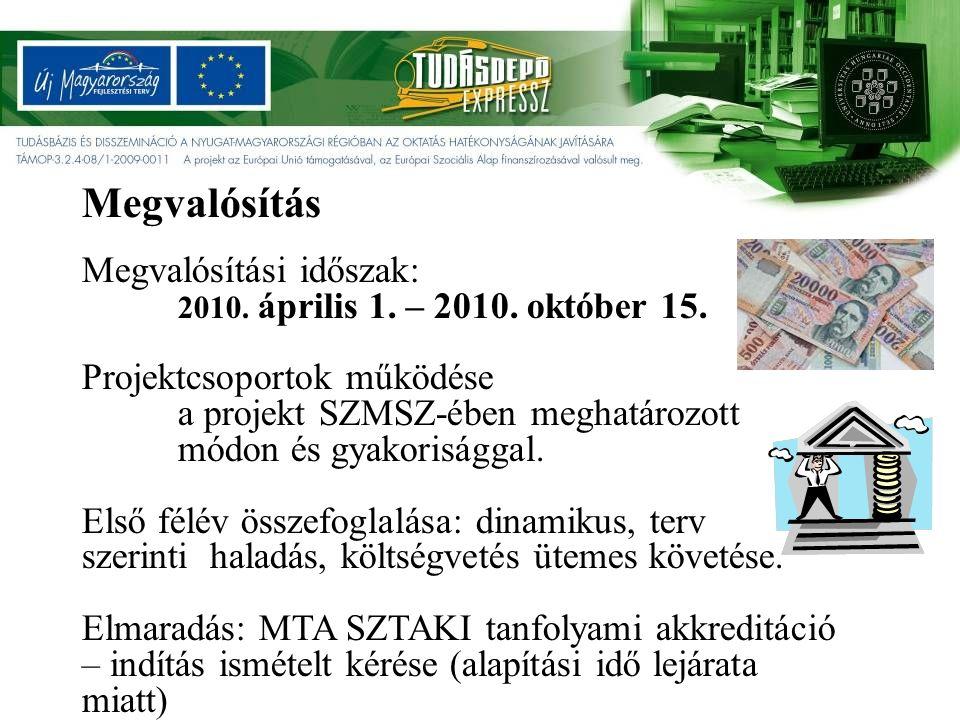 Megvalósítási időszak: 2010. április 1. – 2010. október 15.