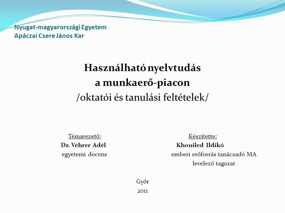 Nyugat-magyarországi Egyetem Apáczai Csere János Kar Használható nyelvtudás a munkaerő-piacon /oktatói és tanulási feltételek/ Témavezető: Készítette: