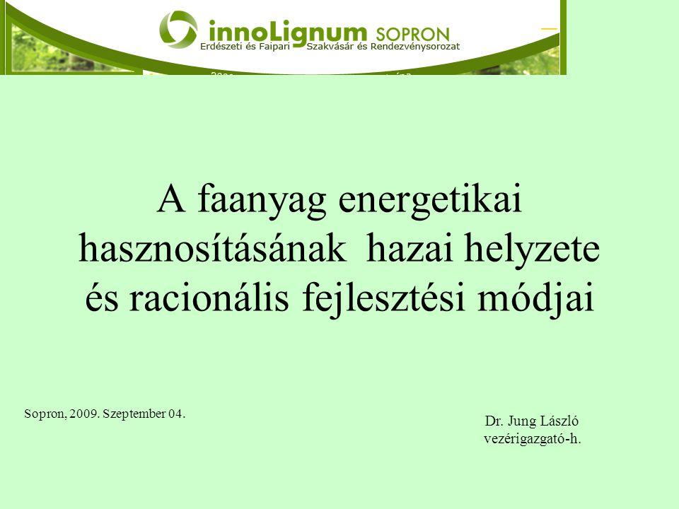 A faanyag energetikai hasznosításának hazai helyzete és racionális fejlesztési módjai Sopron, 2009. Szeptember 04. Dr. Jung László vezérigazgató-h.