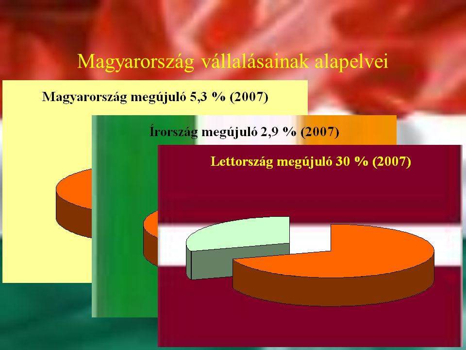 Magyarország vállalásainak alapelvei Hatékonyság Fenntarthatóság Decentralizásció Diverzifikáció