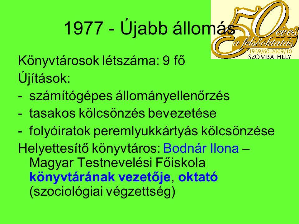 Változások 1978-tól Bolyai: 1978 – Kiss Lajosné helyett Szmrekovszkyné Farkas Éva – helyettesítő: Szandi Ágnes, véglegesítése a Bolyaiban 1980-ban.