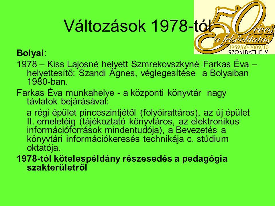 1984-ig Palkovics Ágnes foglalkoztatása (1979-1983) – sokoldalú tevékenység: könyvtáros hivatás, kollégiumi munka, a szakszervezeti kulturális feladatok szervezése – munkahelyváltoztatás Budapest: iskolai könyvtáros Helyére Bodó Judit (1983) – rövid könyvtárosi pályafutás – Puskás Tivadar Szakképző Iskola tanára Szabó Erika (1983-1988), aki Szombathely Város Tanács V.B.