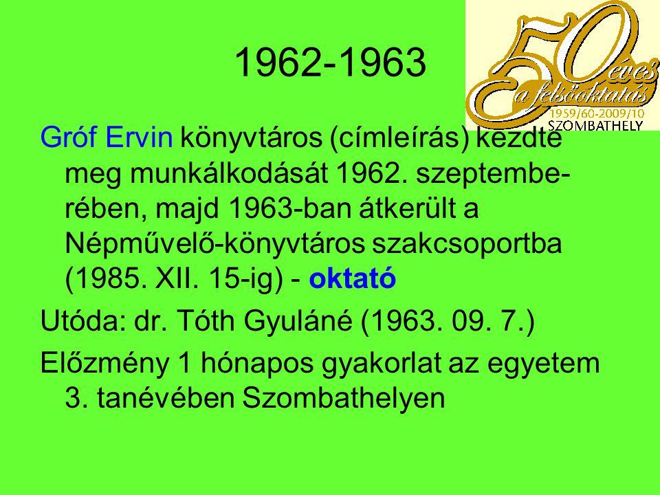 1971 – Pécsi Tanárképző Főiskola Kihelyezett Tagozata Főiskolai tagozat – Szalay László kinevezése – megbízó dr.