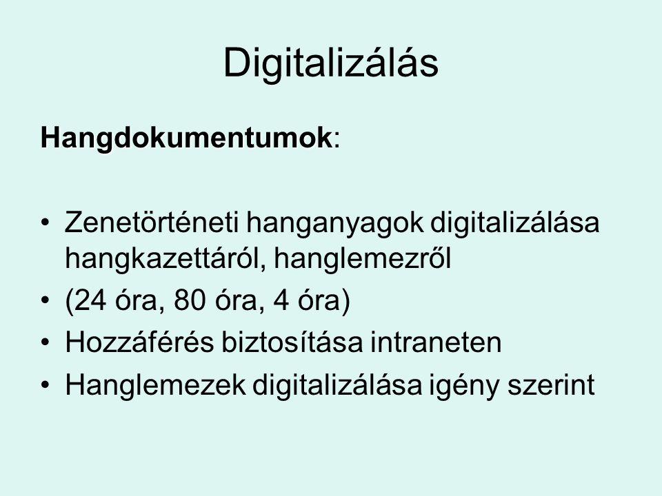 Digitalizálás Hangdokumentumok Hangdokumentumok: Zenetörténeti hanganyagok digitalizálása hangkazettáról, hanglemezről (24 óra, 80 óra, 4 óra) Hozzáfé