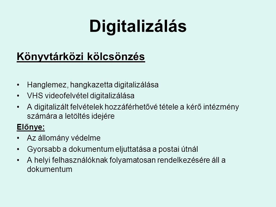 Digitalizálás Könyvtárközi kölcsönzés Hanglemez, hangkazetta digitalizálása VHS videofelvétel digitalizálása A digitalizált felvételek hozzáférhetővé