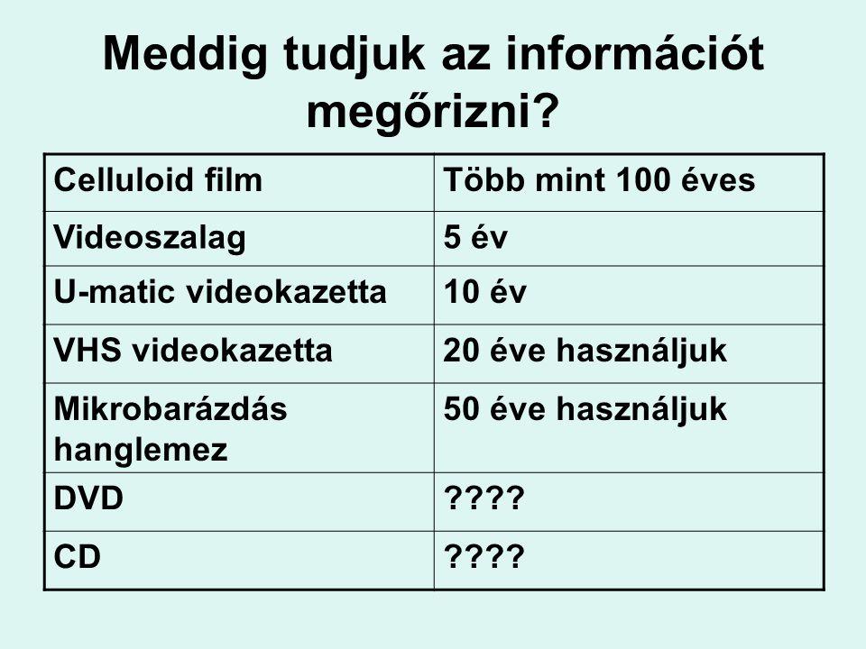 Meddig tudjuk az információt megőrizni? Celluloid filmTöbb mint 100 éves Videoszalag5 év U-matic videokazetta10 év VHS videokazetta20 éve használjuk M