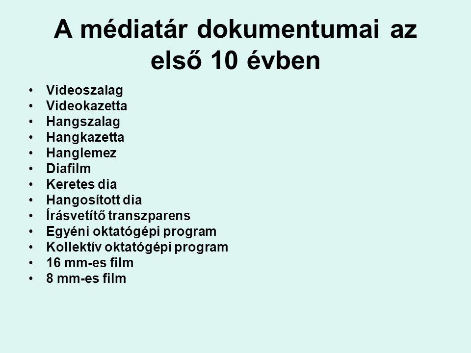 A médiatár dokumentumai az első 10 évben Videoszalag Videokazetta Hangszalag Hangkazetta Hanglemez Diafilm Keretes dia Hangosított dia Írásvetítő tran