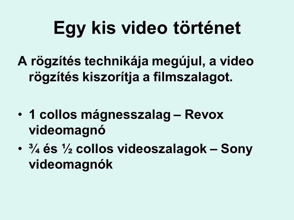 Egy kis video történet A rögzítés technikája megújul, a video rögzítés kiszorítja a filmszalagot. 1 collos mágnesszalag – Revox videomagnó ¾ és ½ coll