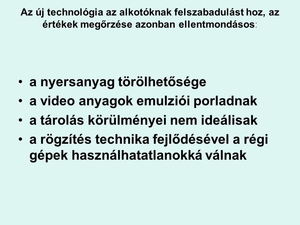 Az új technológia az alkotóknak felszabadulást hoz, az értékek megőrzése azonban ellentmondásos : a nyersanyag törölhetősége a video anyagok emulziói