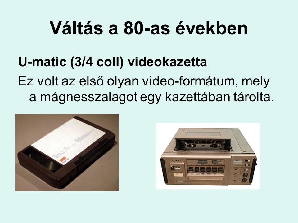 A 80-as évek közepe A VHS (Video Home System) térhódítása A japán JVC cég fejlesztése, ez a szabvány vált általánossá az otthoni felhasználók között az 1980-as évektől kezdveJVC1980-as évektől Játékidő: 30, 60, 90, 180, 195, 240 perc