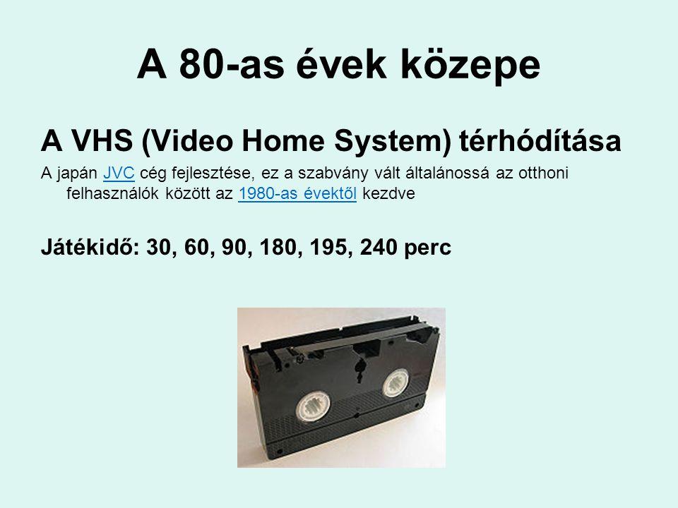 A 80-as évek közepe A VHS (Video Home System) térhódítása A japán JVC cég fejlesztése, ez a szabvány vált általánossá az otthoni felhasználók között a