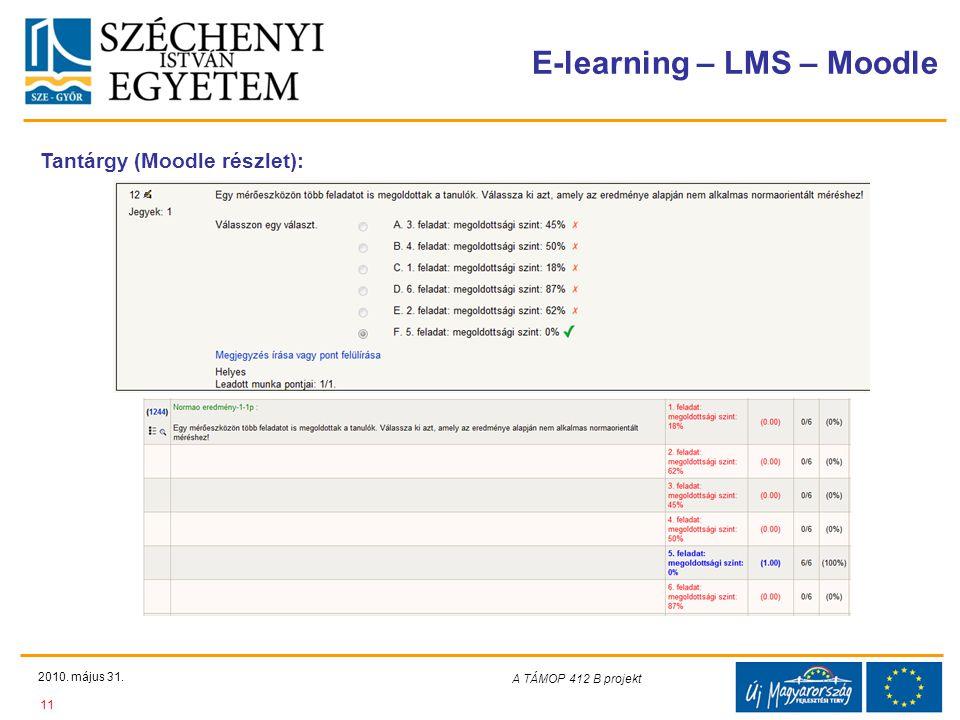 Teljes Projektazonosító Rövid projektcím Diaminta szerkesztésben kitöltendő !!! E-learning – LMS – Moodle 2010. május 31. 11 A TÁMOP 412-08/1/C projek