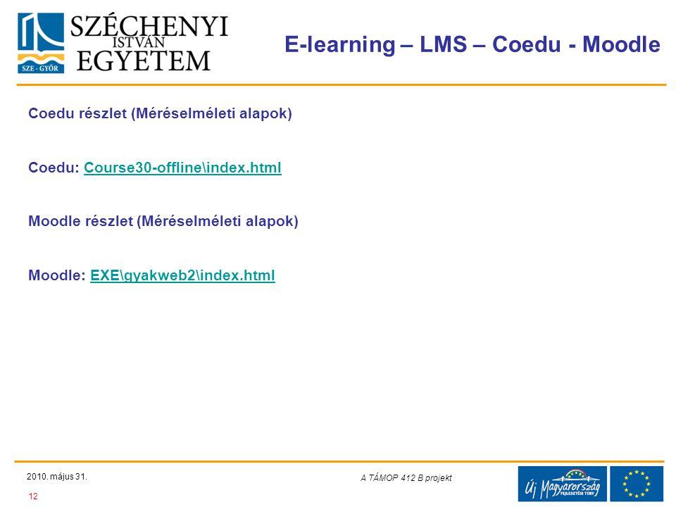 Teljes Projektazonosító Rövid projektcím Diaminta szerkesztésben kitöltendő !!! E-learning – LMS – Coedu - Moodle 2010. május 31. 12 A TÁMOP 412-08/1/