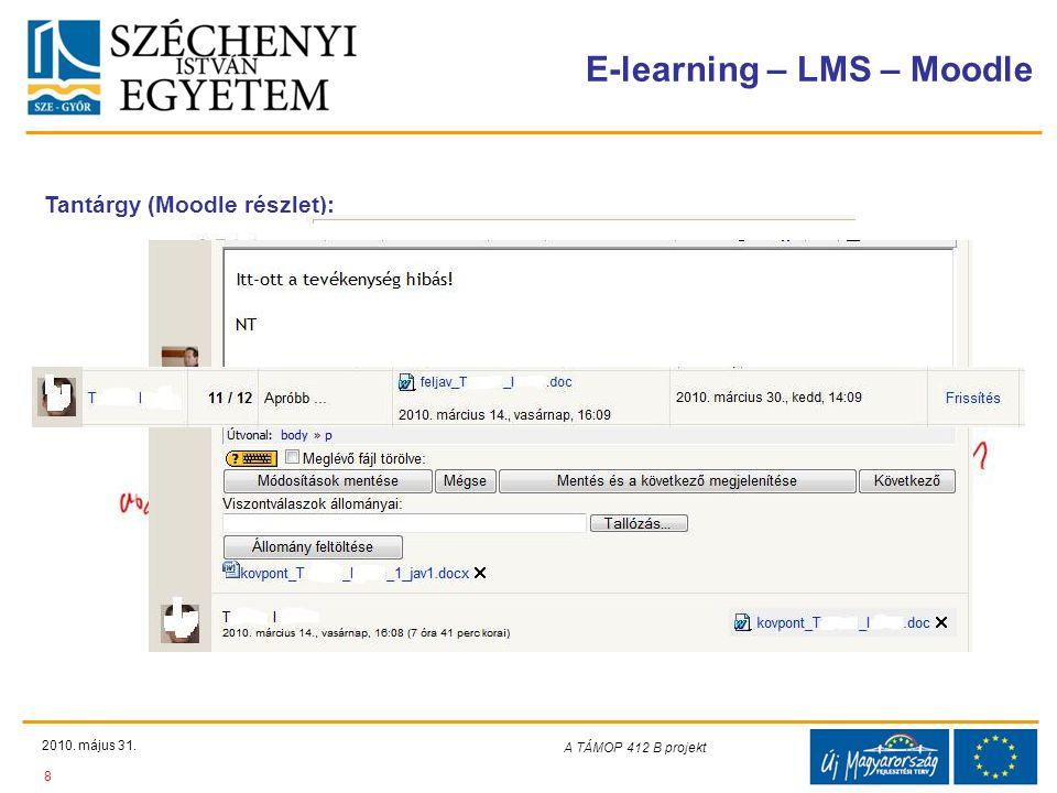 Teljes Projektazonosító Rövid projektcím Diaminta szerkesztésben kitöltendő !!! E-learning – LMS – Moodle 2010. május 31. 8 A TÁMOP 412-08/1/C projekt