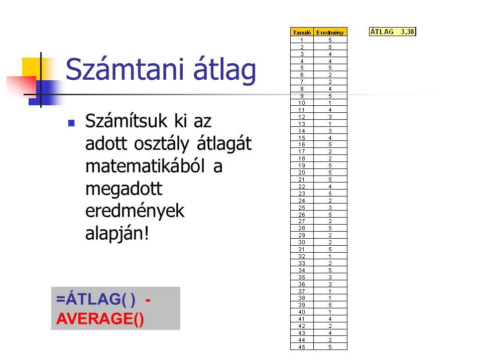 Számtani átlag Számítsuk ki az adott osztály átlagát matematikából a megadott eredmények alapján! =ÁTLAG( ) - AVERAGE()
