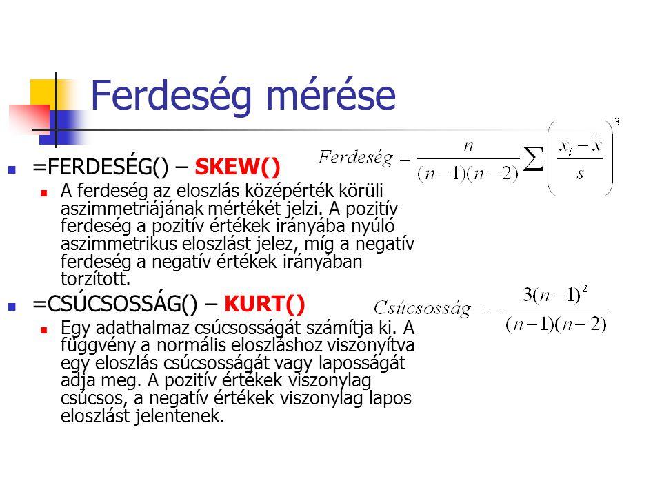 Ferdeség mérése =FERDESÉG() – SKEW() A ferdeség az eloszlás középérték körüli aszimmetriájának mértékét jelzi. A pozitív ferdeség a pozitív értékek ir