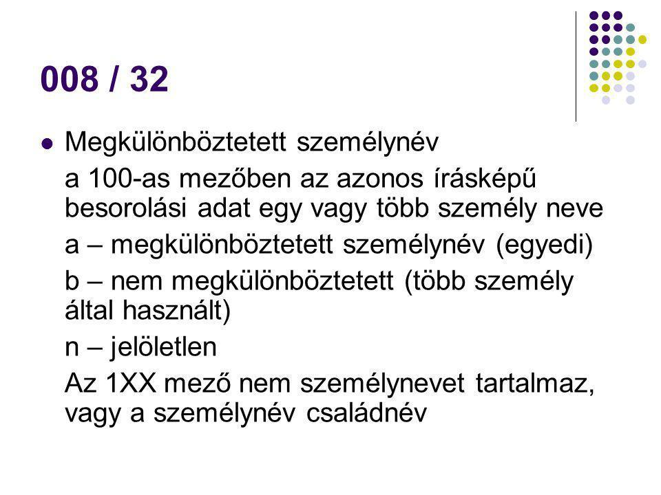008 / 32 Megkülönböztetett személynév a 100-as mezőben az azonos írásképű besorolási adat egy vagy több személy neve a – megkülönböztetett személynév