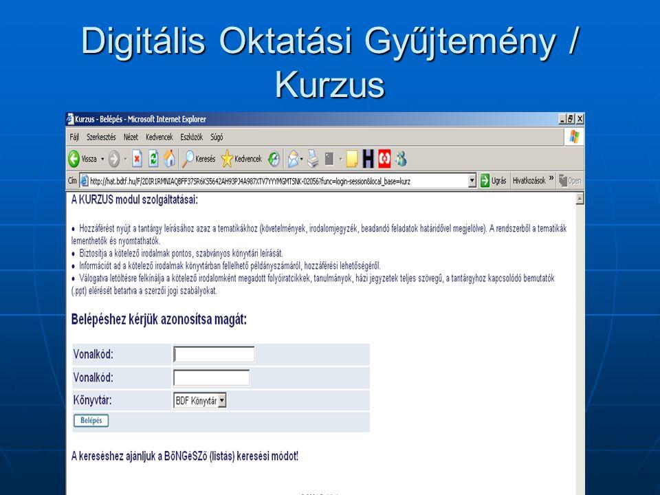 Digitális Oktatási Gyűjtemény / Kurzus
