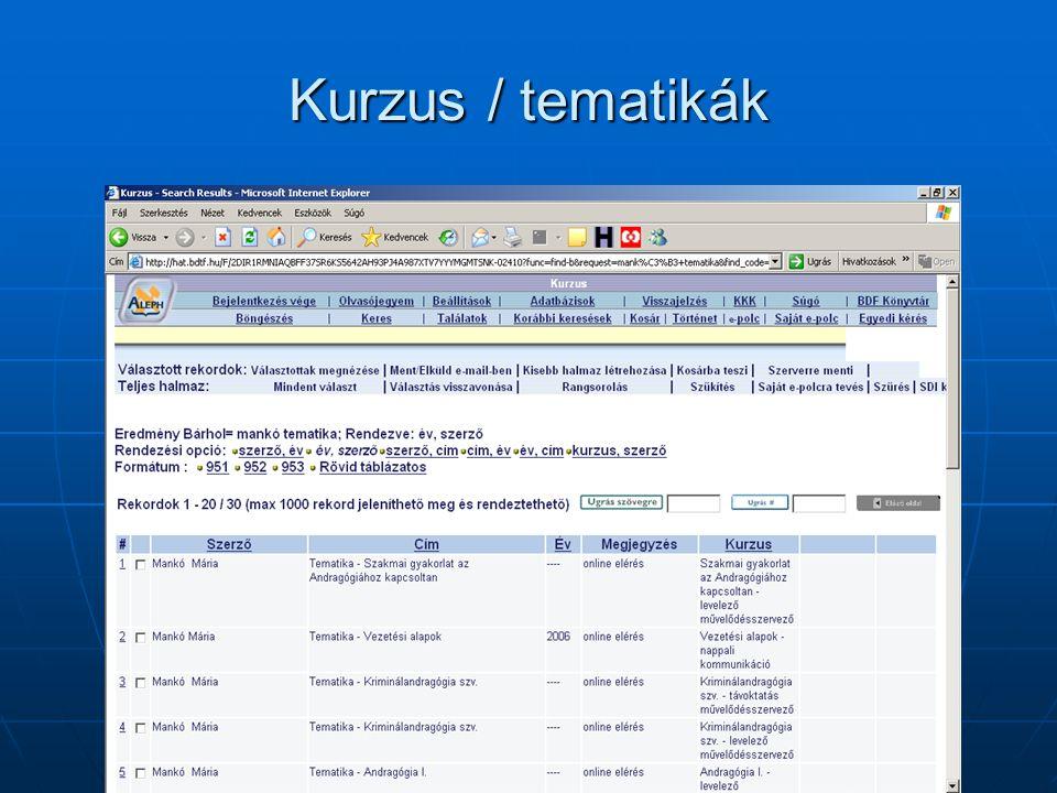 Kurzus / Andragógia