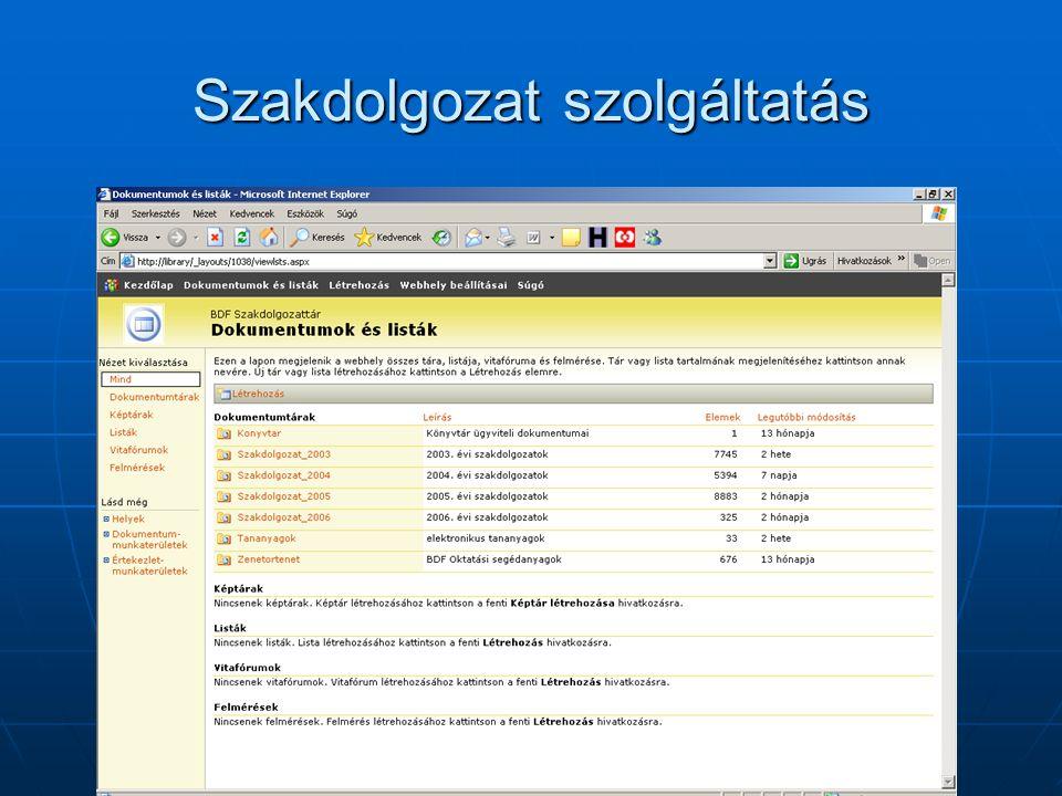 Szakdolgozat szolgáltatás / SharePoint Services