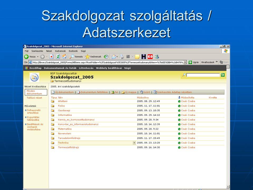 Szakdolgozat szolgáltatás / Adatszerkezet