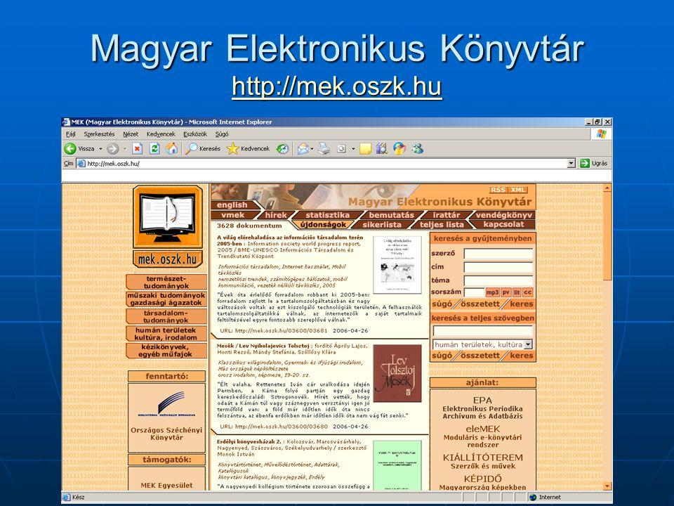Magyar Elektronikus Könyvtár http://mek.oszk.hu http://mek.oszk.hu