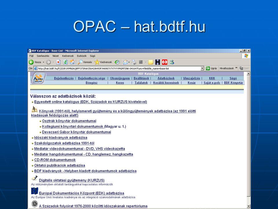 OPAC – hat.bdtf.hu