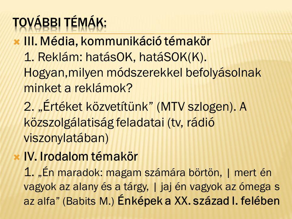  III. Média, kommunikáció témakör 1. Reklám: hatásOK, hatáSOK(K).