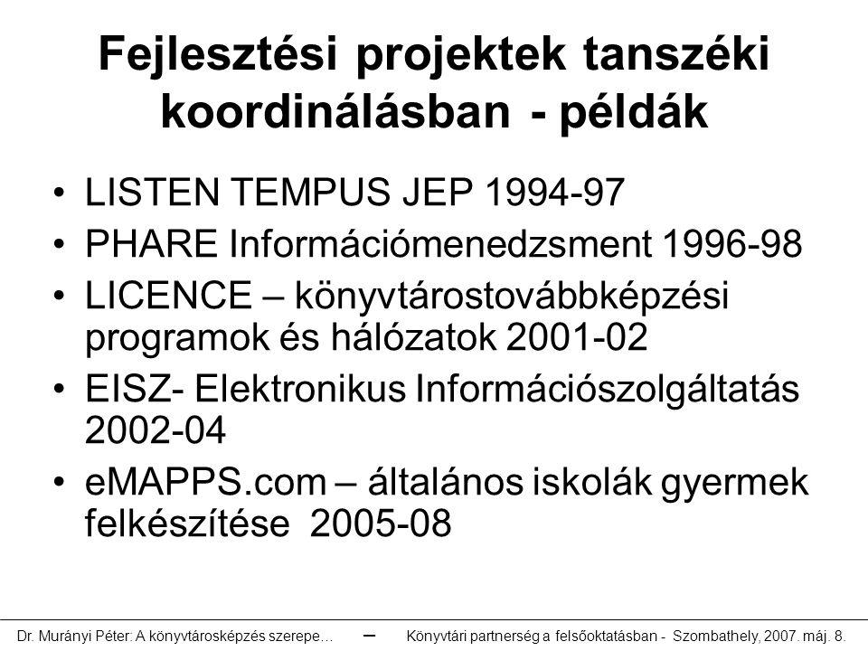 Fejlesztési projektek tanszéki koordinálásban - példák LISTEN TEMPUS JEP 1994-97 PHARE Információmenedzsment 1996-98 LICENCE – könyvtárostovábbképzési programok és hálózatok 2001-02 EISZ- Elektronikus Információszolgáltatás 2002-04 eMAPPS.com – általános iskolák gyermek felkészítése 2005-08 Dr.