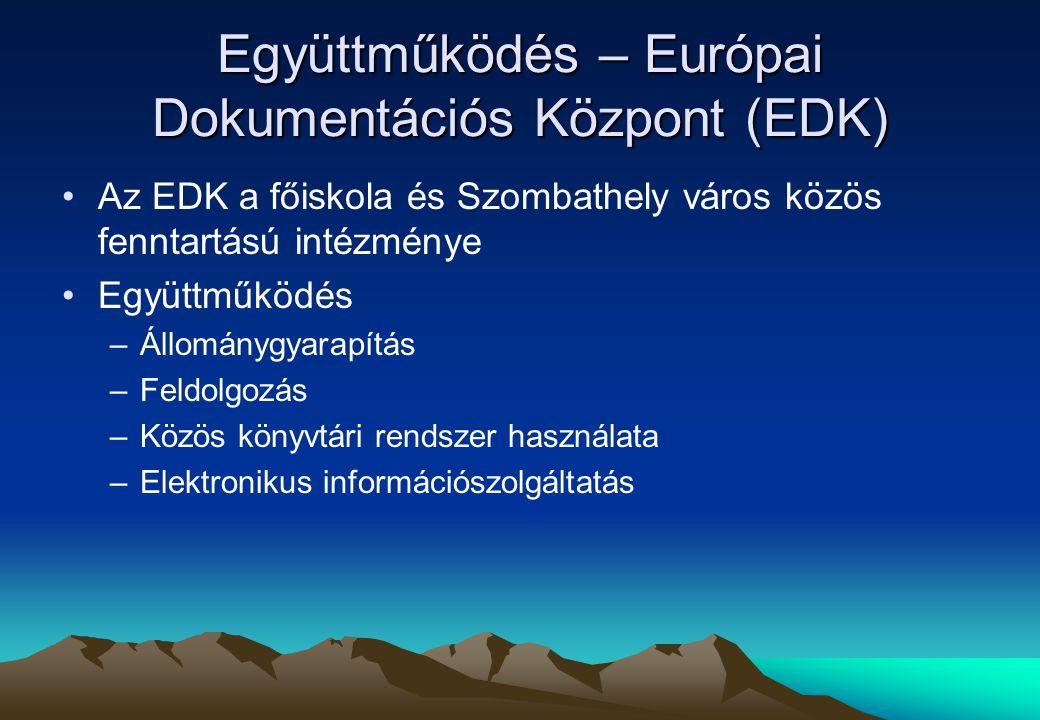 Együttműködés – Európai Dokumentációs Központ (EDK) Az EDK a főiskola és Szombathely város közös fenntartású intézménye Együttműködés –Állománygyarapítás –Feldolgozás –Közös könyvtári rendszer használata –Elektronikus információszolgáltatás