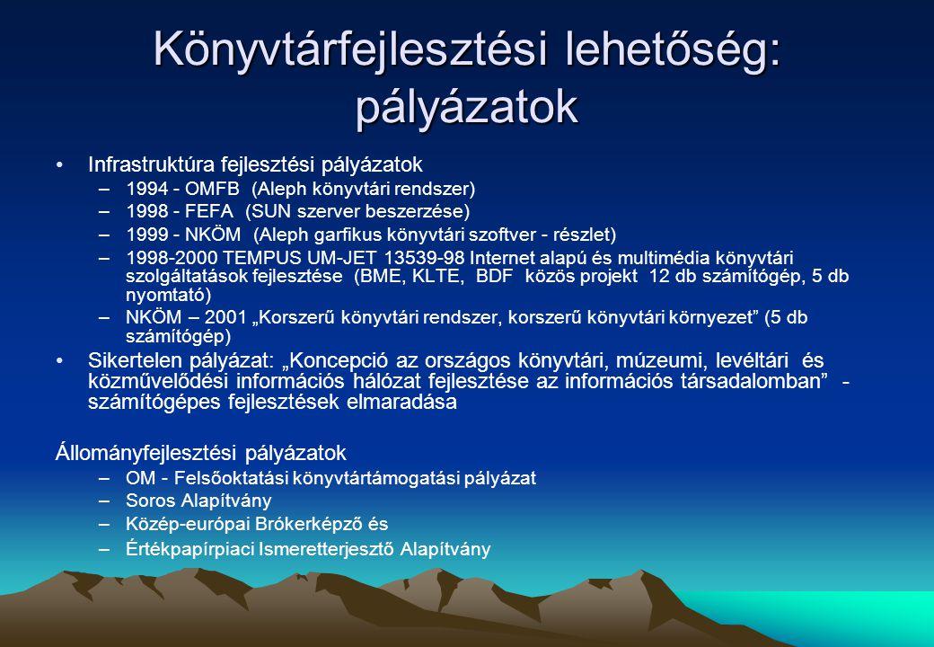 """Könyvtárfejlesztési lehetőség: pályázatok Infrastruktúra fejlesztési pályázatok –1994 - OMFB (Aleph könyvtári rendszer) –1998 - FEFA (SUN szerver beszerzése) –1999 - NKÖM (Aleph garfikus könyvtári szoftver - részlet) –1998-2000 TEMPUS UM-JET 13539-98 Internet alapú és multimédia könyvtári szolgáltatások fejlesztése (BME, KLTE, BDF közös projekt 12 db számítógép, 5 db nyomtató) –NKÖM – 2001 """"Korszerű könyvtári rendszer, korszerű könyvtári környezet (5 db számítógép) Sikertelen pályázat: """"Koncepció az országos könyvtári, múzeumi, levéltári és közművelődési információs hálózat fejlesztése az információs társadalomban - számítógépes fejlesztések elmaradása Állományfejlesztési pályázatok –OM - Felsőoktatási könyvtártámogatási pályázat –Soros Alapítvány –Közép-európai Brókerképző és –Értékpapírpiaci Ismeretterjesztő Alapítvány"""