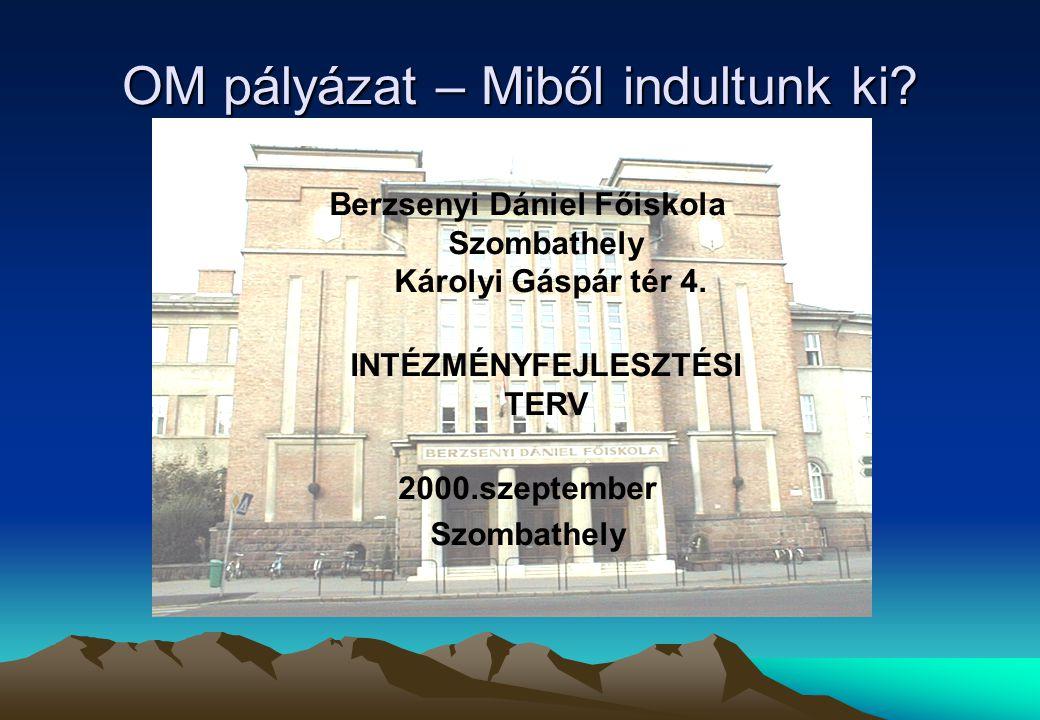 OM pályázat – Miből indultunk ki. Berzsenyi Dániel Főiskola Szombathely Károlyi Gáspár tér 4.
