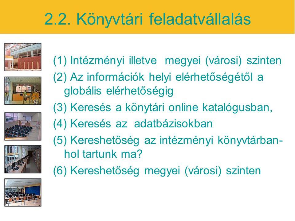 2.2. Könyvtári feladatvállalás (1) Intézményi illetve megyei (városi) szinten (2) Az információk helyi elérhetőségétől a globális elérhetőségig (3) Ke