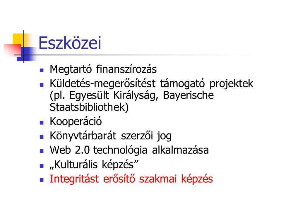 Eszközei Megtartó finanszírozás Küldetés-megerősítést támogató projektek (pl.