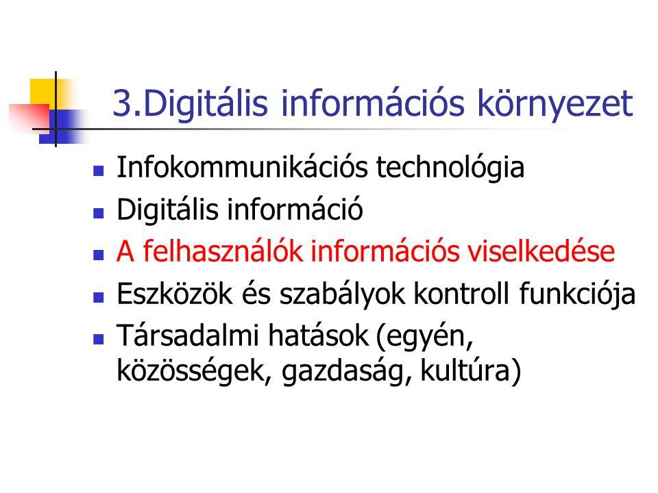 3.Digitális információs környezet Infokommunikációs technológia Digitális információ A felhasználók információs viselkedése Eszközök és szabályok kontroll funkciója Társadalmi hatások (egyén, közösségek, gazdaság, kultúra)