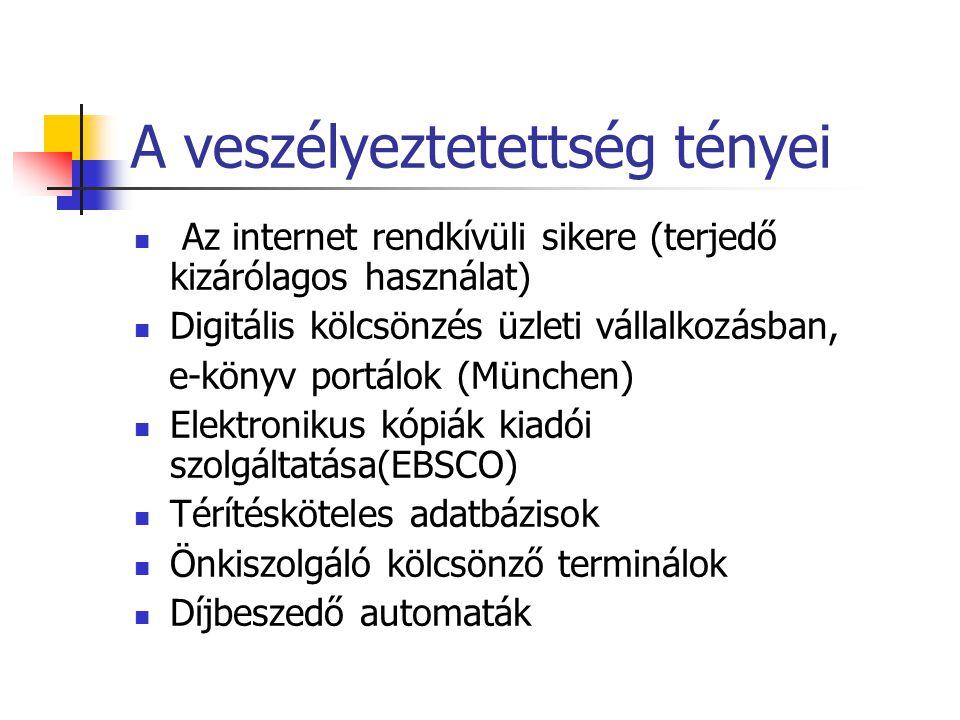 A veszélyeztetettség tényei Az internet rendkívüli sikere (terjedő kizárólagos használat) Digitális kölcsönzés üzleti vállalkozásban, e-könyv portálok (München) Elektronikus kópiák kiadói szolgáltatása(EBSCO) Térítésköteles adatbázisok Önkiszolgáló kölcsönző terminálok Díjbeszedő automaták