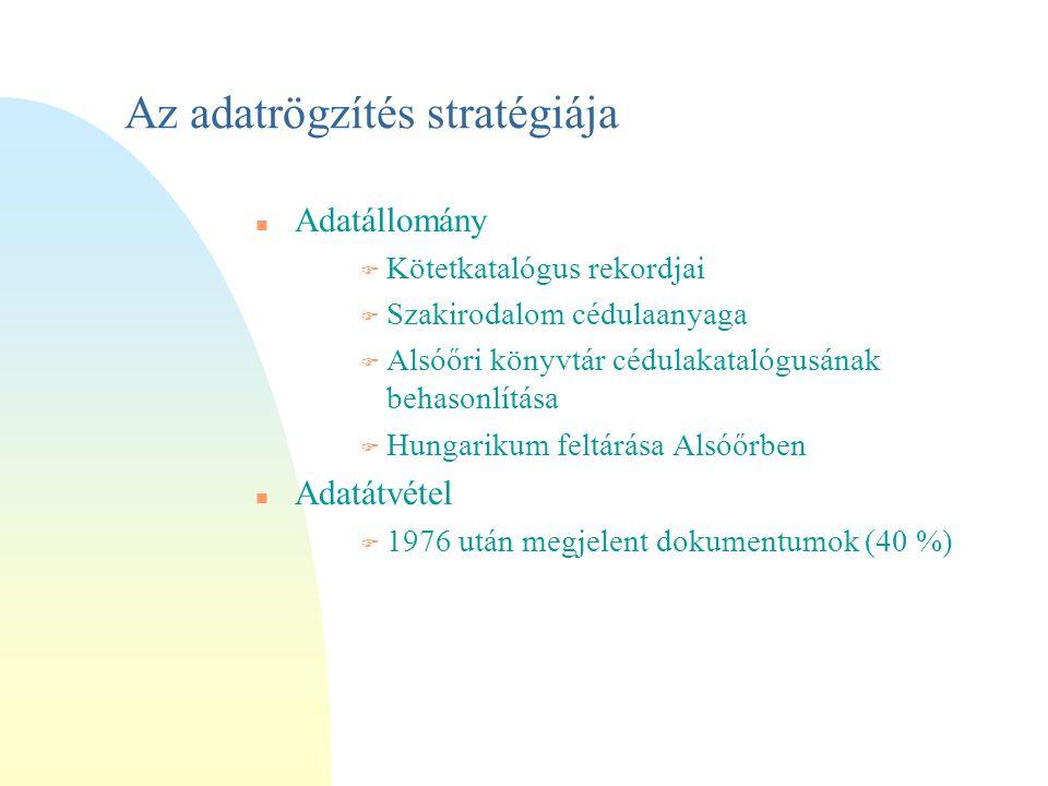 Az adatrögzítés stratégiája n Adatállomány F Kötetkatalógus rekordjai F Szakirodalom cédulaanyaga F Alsóőri könyvtár cédulakatalógusának behasonlítása  Hungarikum feltárása Alsóőrben n Adatátvétel F 1976 után megjelent dokumentumok (40 %)
