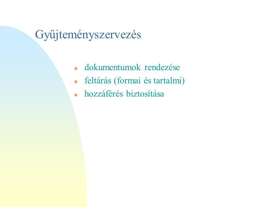 Gyűjteményszervezés n dokumentumok rendezése n feltárás (formai és tartalmi) n hozzáférés biztosítása