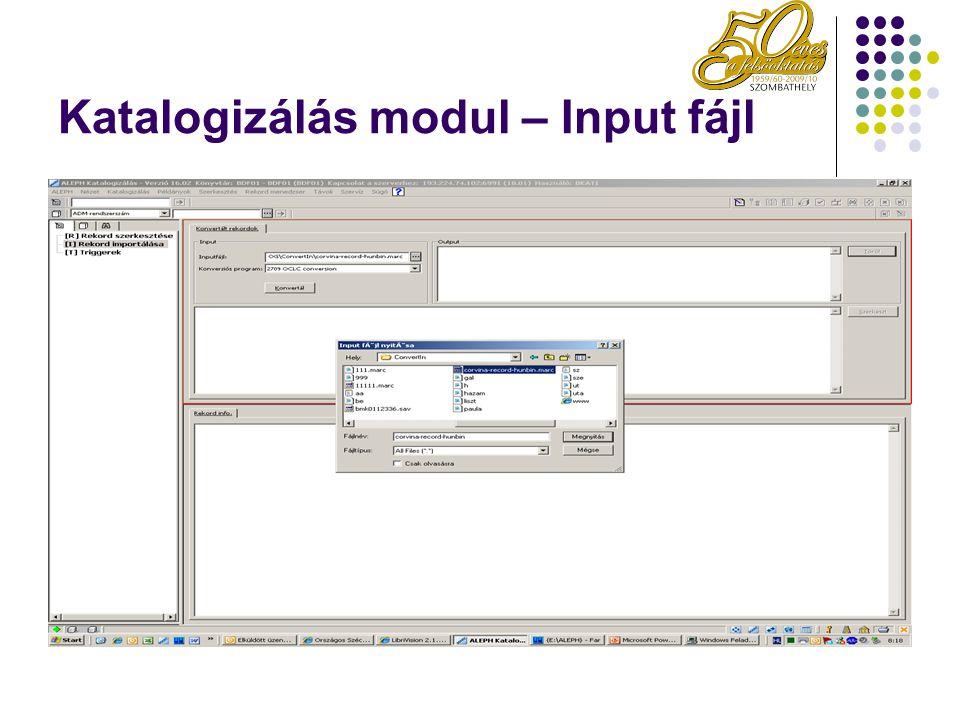 Katalogizálás modul – Input fájl