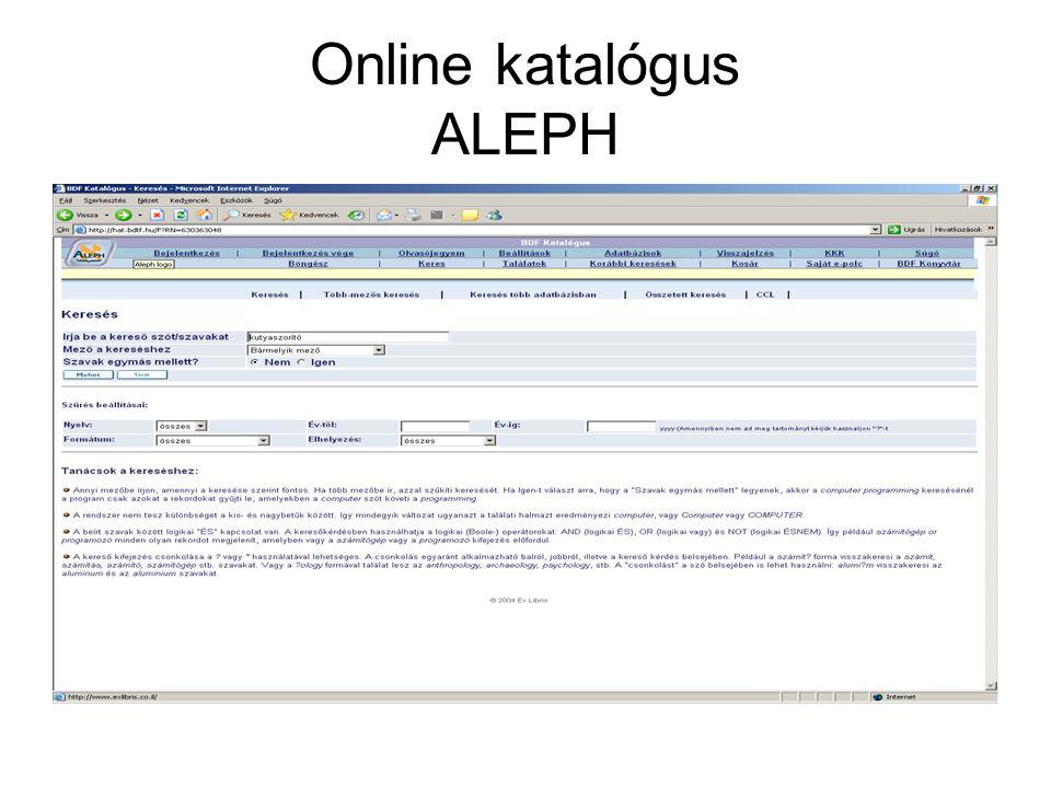 Online katalógus ALEPH