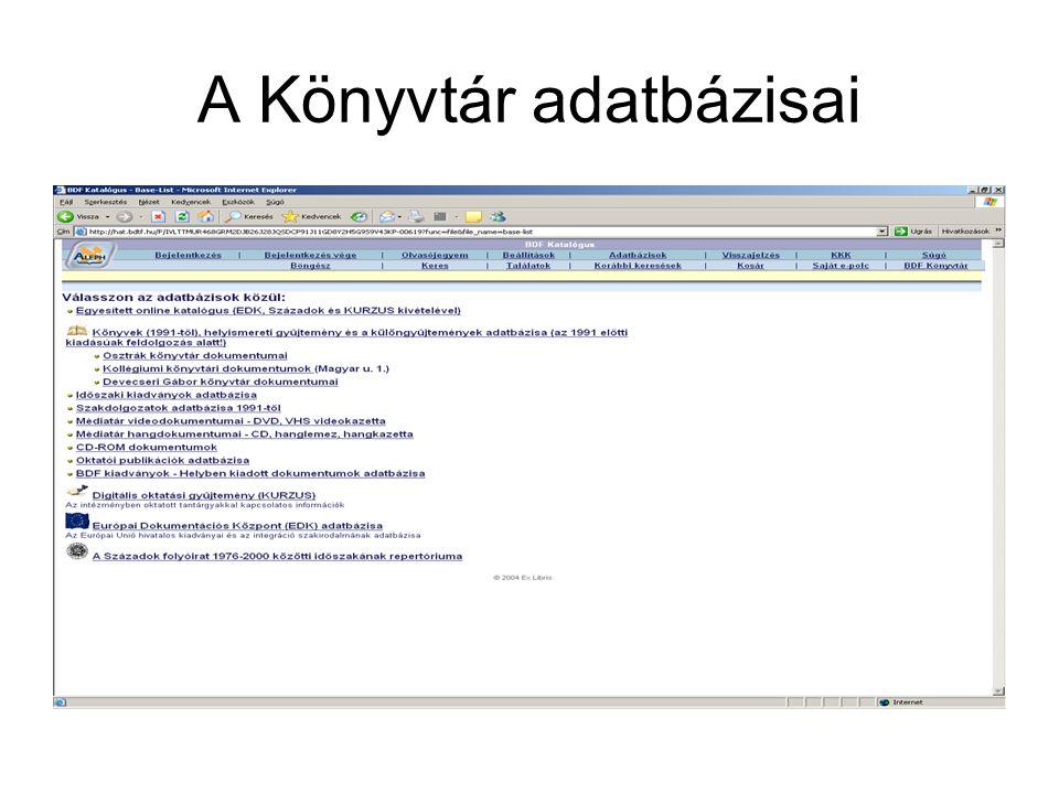 A Könyvtár adatbázisai