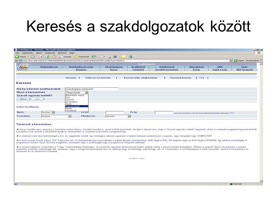 Adatbázisok BME-OMIKK honlapja h ttp://www.omikk.bme.hu/