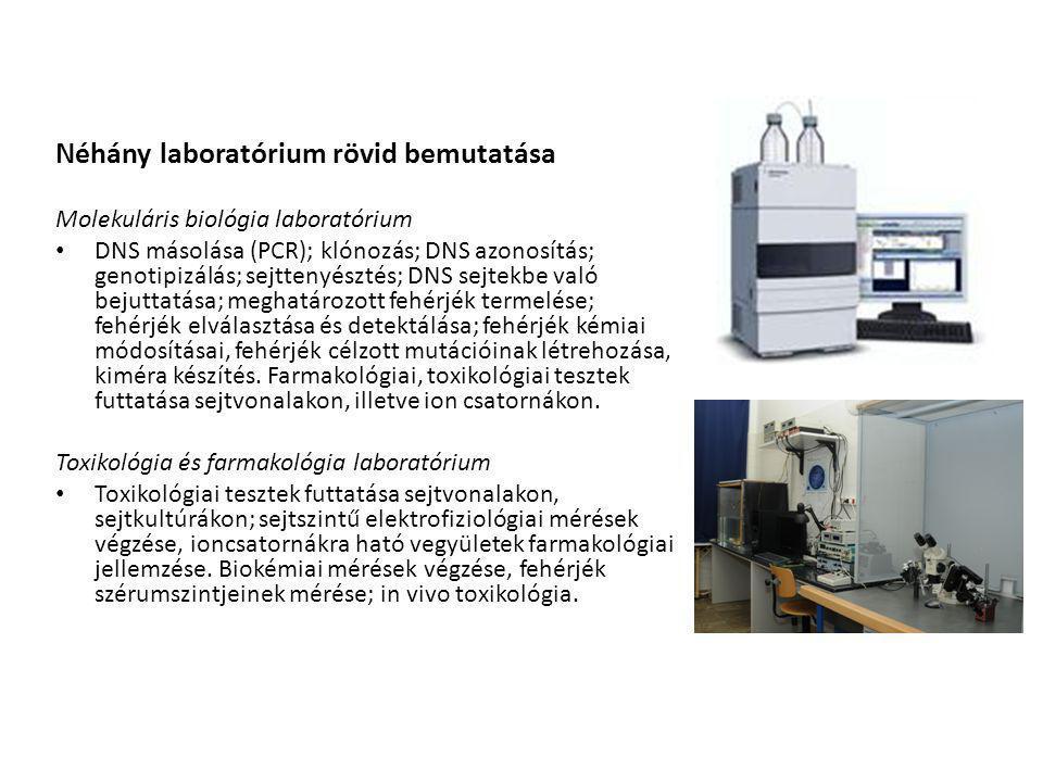 Néhány laboratórium rövid bemutatása Molekuláris biológia laboratórium DNS másolása (PCR); klónozás; DNS azonosítás; genotipizálás; sejttenyésztés; DNS sejtekbe való bejuttatása; meghatározott fehérjék termelése; fehérjék elválasztása és detektálása; fehérjék kémiai módosításai, fehérjék célzott mutációinak létrehozása, kiméra készítés.