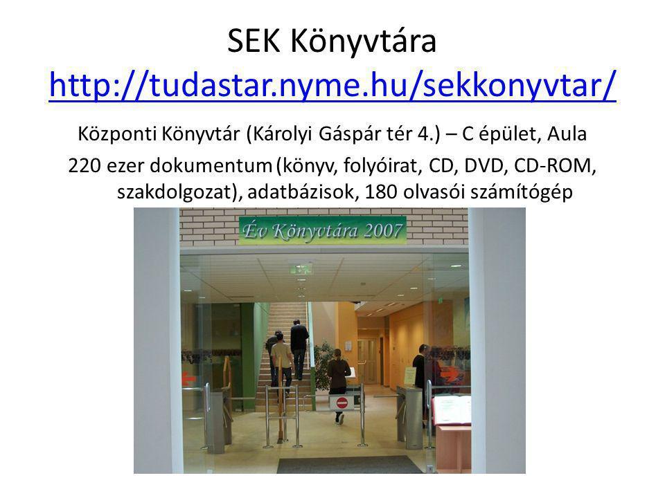SEK Könyvtára http://tudastar.nyme.hu/sekkonyvtar/ http://tudastar.nyme.hu/sekkonyvtar/ Központi Könyvtár (Károlyi Gáspár tér 4.) – C épület, Aula 220 ezer dokumentum (könyv, folyóirat, CD, DVD, CD-ROM, szakdolgozat), adatbázisok, 180 olvasói számítógép
