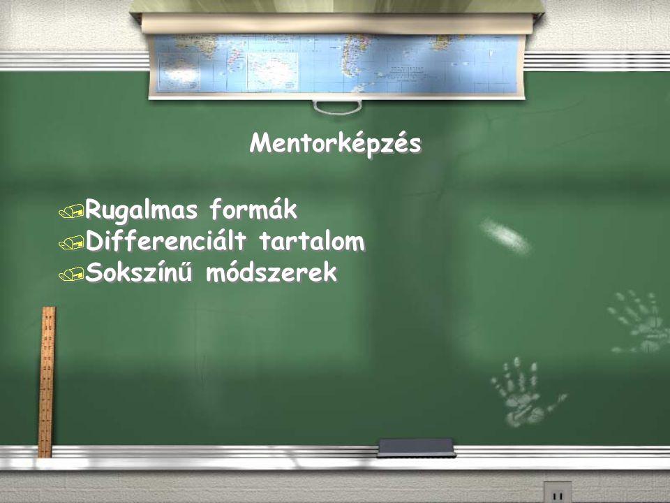 Mentorképzés / Rugalmas formák / Differenciált tartalom  Sokszín ű módszerek / Rugalmas formák / Differenciált tartalom  Sokszín ű módszerek