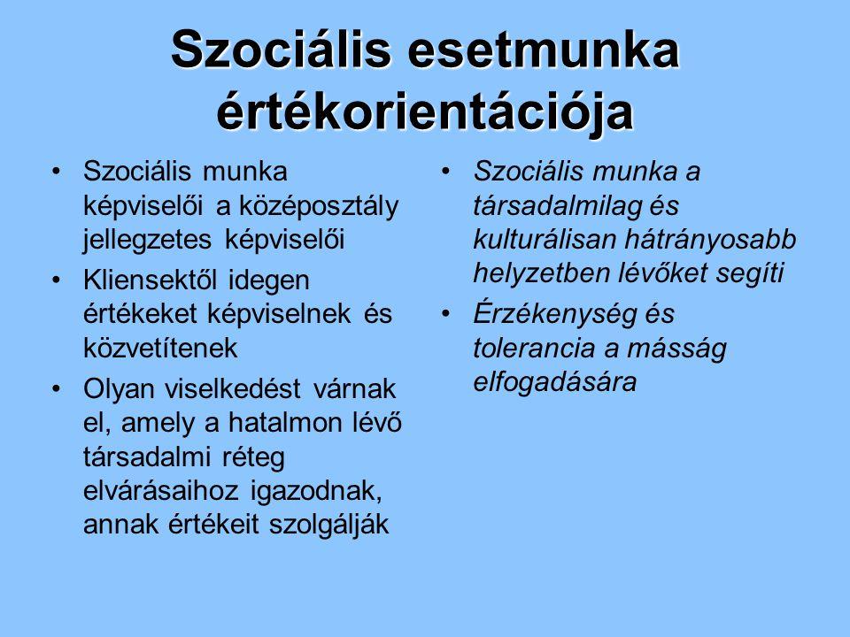Szociális esetmunka értékorientációja Szociális munka képviselői a középosztály jellegzetes képviselői Kliensektől idegen értékeket képviselnek és köz